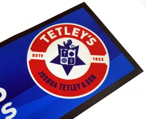 Tetley's Branded Rubber Back Drip Mat Bar Runner for Pubs. Fast UK Delivery.
